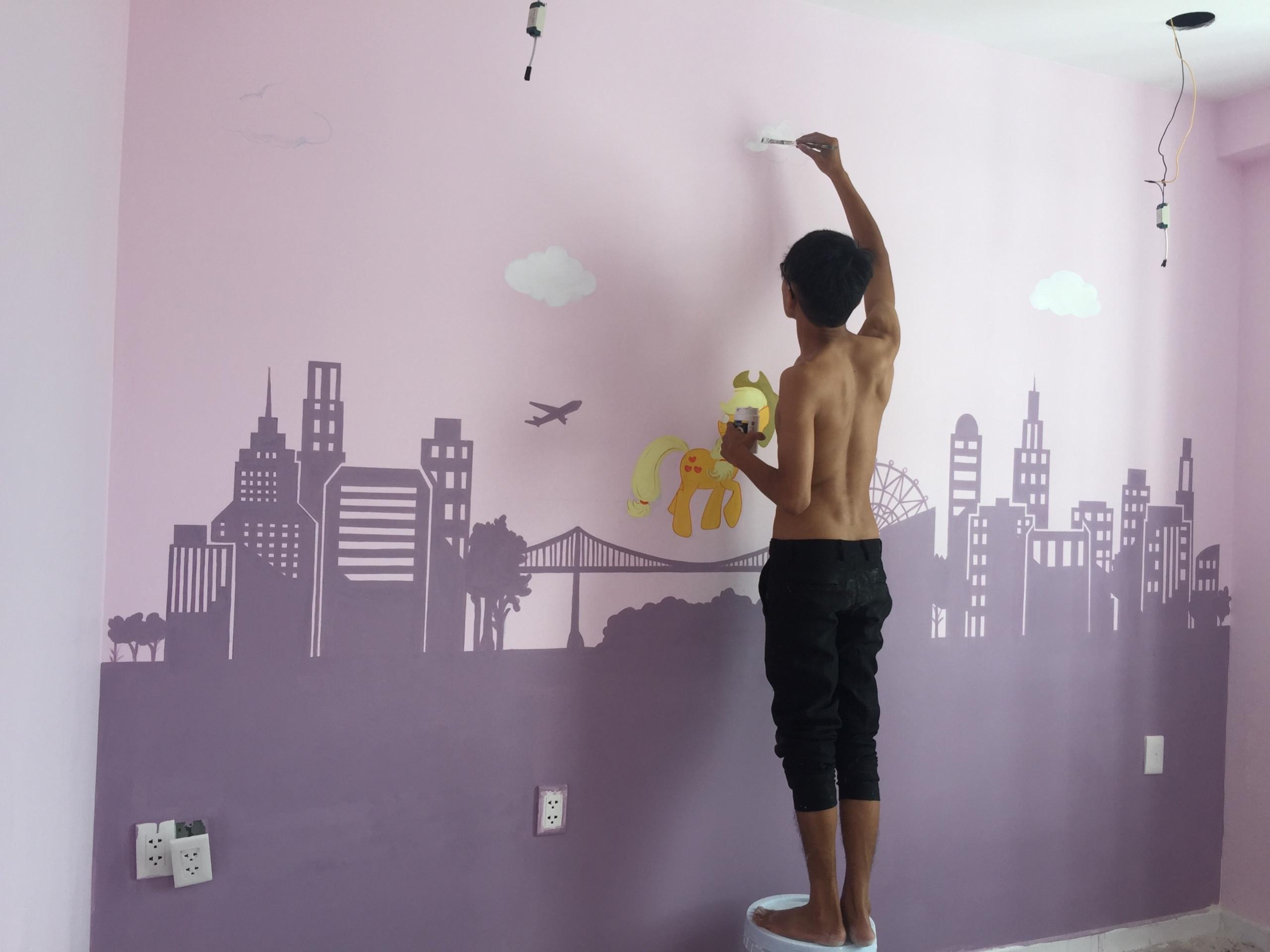 Vẽ Tranh tường phòng bé chung cư M-ONE Quận 7