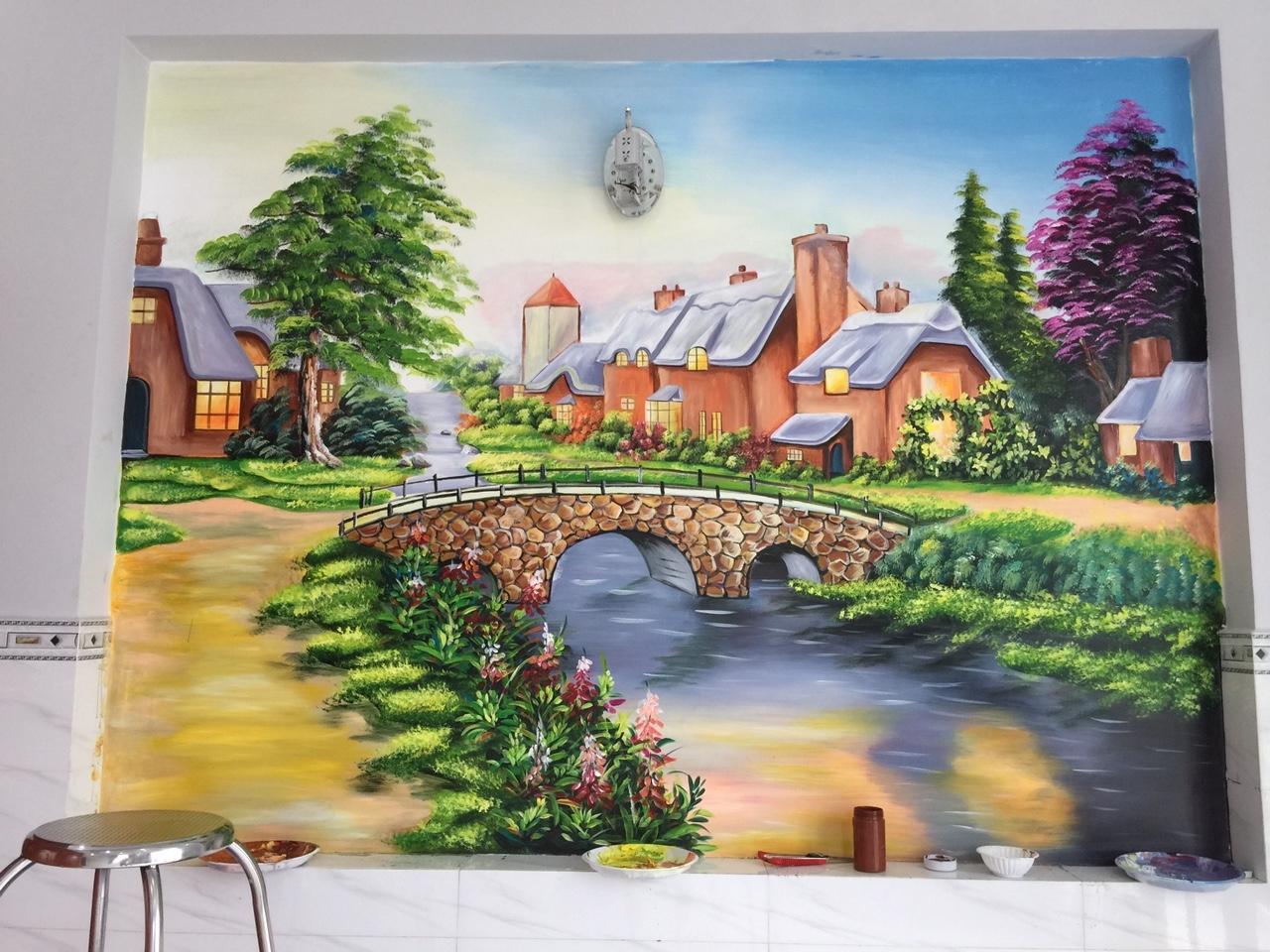 Vẽ tranh phong cảnh cho biệt thự đường Nguyễn Ảnh Thủ Q12