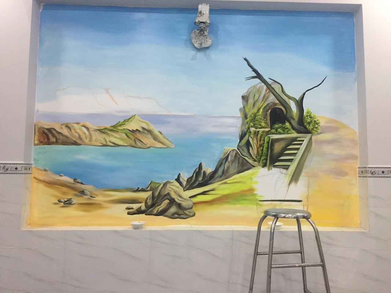 Vẽ tranh nhiệt đới cho văn phòng công ty
